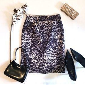 J. Crew Watercolor leopard skirt